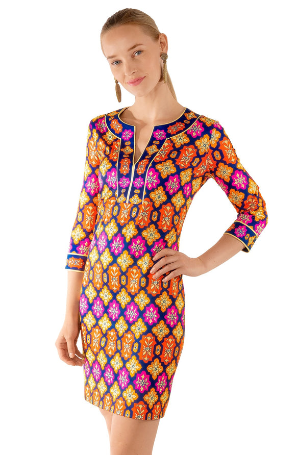 GRETCHEN SCOTT-Split Neck Print Dress