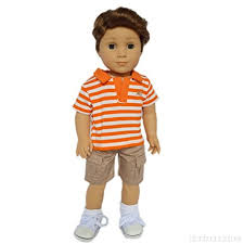2 PIECE STRIPED POLO AND CARGO PANTS FOR AMERICAN GIRL BOY DOLL