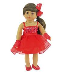 3 piece RED PINK TULLE DRESS FOR AMERICAN GIRL DOLLS