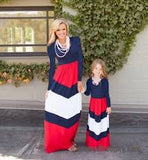 MOTHER & DAUGHTER GIRLS - WOMEN'S CASUAL MATCHING PATRIOTIC MAXI  RED WHITE & BLUE DRESS