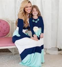MOMMY & ME MATCHING LONG SLEEVE GIRLS - WOMEN'S CASUAL MAXI DRESS