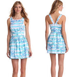 🌺  LILLY PULITZER SANDRINE TOSSING  THE LINE Dress IN SHORLEY BLUE WITH PEARL TRIM - FEATURED