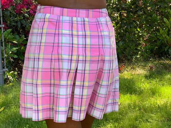 🌺   LILLY PULITZER PLEATED PINK PLAID SKIRT - PEANUT ISLAND
