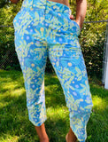 lilly pulitzer under water tropical fish crab crop ankle length  side pockets and belt loops blue green stretch pant