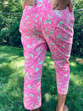 LILLY PULITZER PALM TREE WITH BACK POCKET CROP ANKLE LENGTH COTTON STRETCH PANT CAPE COD FASHIONISTA