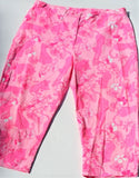 LILLY PULITZER WOMENS PINK  LION FLOWER ANKLE LENGTH COTTON STRETCH PANT CAPE COD FASHIONISTA