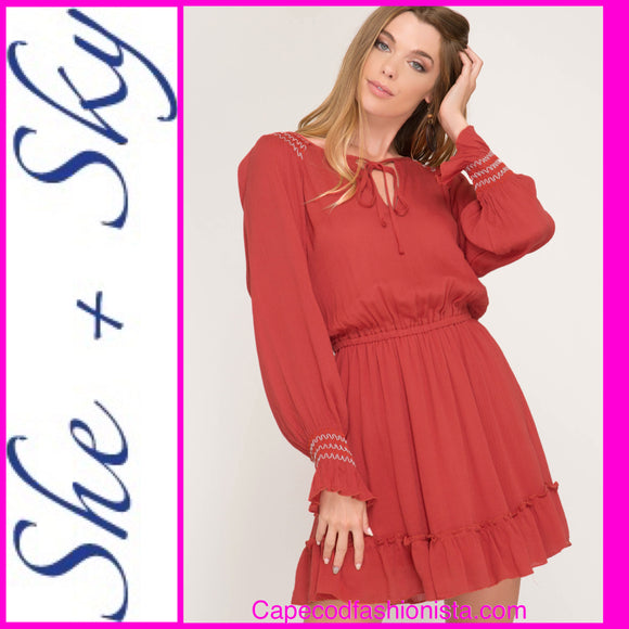 SHE + SKY  LONG SLEEVE BOHO CHIC SMOCKED RUFFLE HEM DRESS