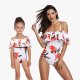 MOMMY & ME MATCHING BLOOMING FLORAL RUFFLE OFF SHOULDER ONE PIECE SWIMSUIT