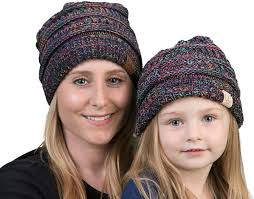 CC  MATCHING KNIT RIBBED SLOUCHY HATS