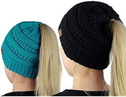 CC BEANIE KNIT MOMMY & ME MATCHING PONYTAIL HATS