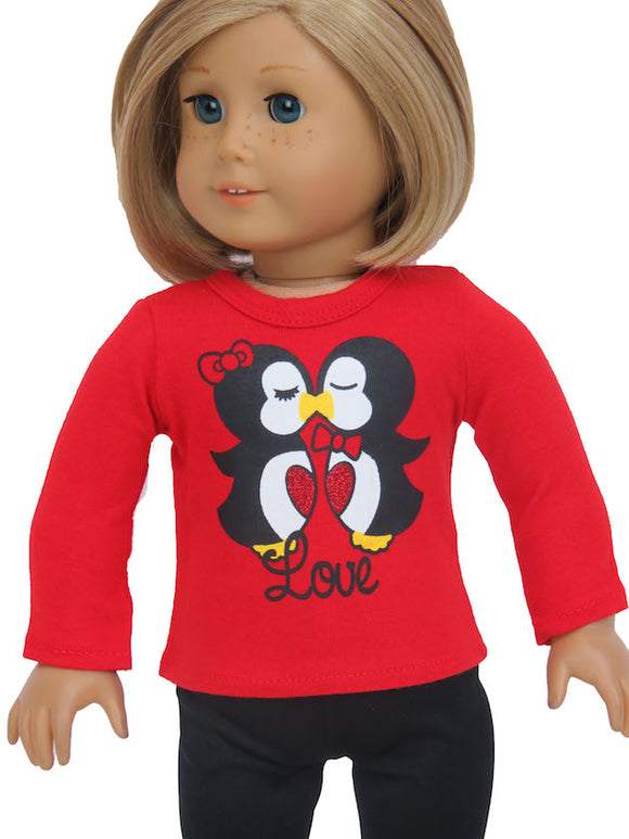 KISSING LOVE RED JERSEY for American Girl Doll