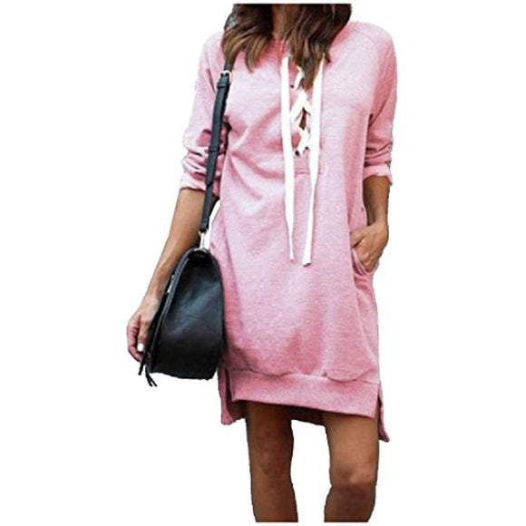WOMEN'S HI LOW SIDE SPLIT LACE UP DRESS TOP