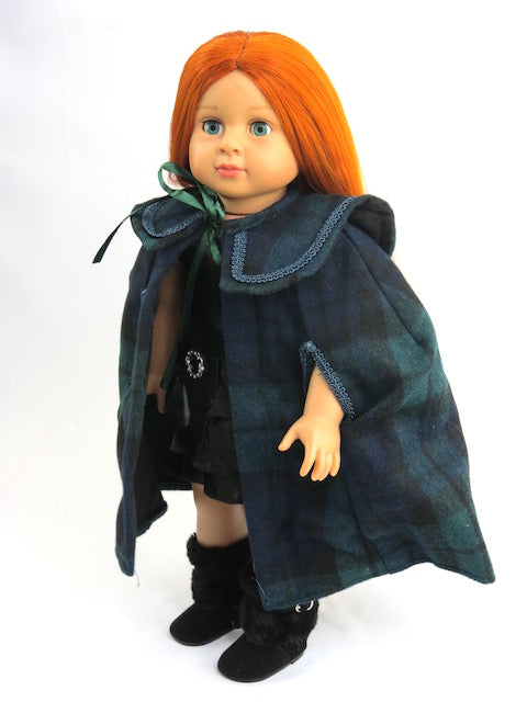 TARTAN PLAID CAPE DOLL COAT FOR AMERICAN GIRL DOLLS