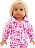 Heart Pajamas with Slippers Made for 18 inch Dolls Such as American Girl Dolls