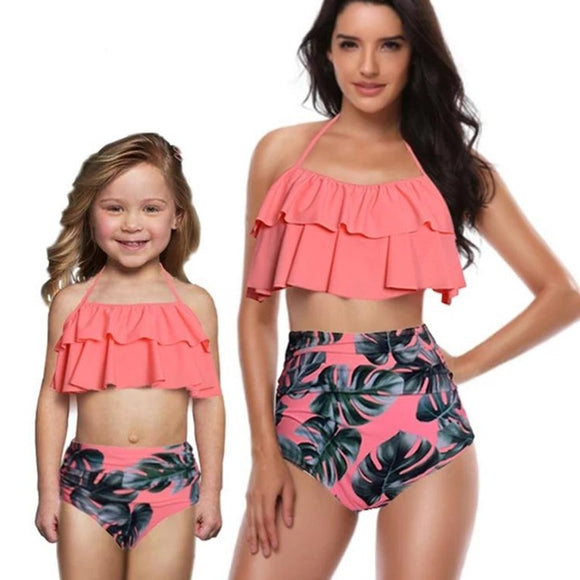 Peach MOMMY & ME MATCHING PALM LEAF 2 PIECE RUFFLE SWIMWEAR