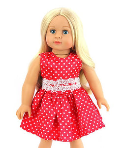 POLKA DOT RED & WHITE PEARL DRESS