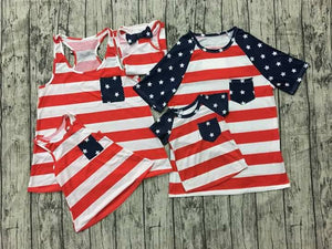 Red white blue Patriotic Ladies & Girls Tank with Bow on Back and Stars on Pockets