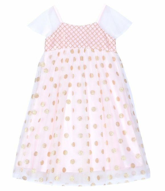 JUSBE Kids: LONG GOLD/BLUSH POLKA Dot Layered Tulle  Dress