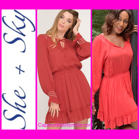 SHE + SKY  LONG SLEEVE FALL  BOHO CHIC SMOCKED RUFFLE HEM DRESS