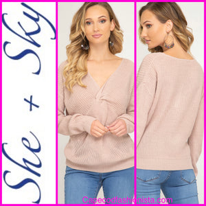 SHE + SKY  LONG SLEEVE SWEATER WITH FRONT TWIST DETAIL