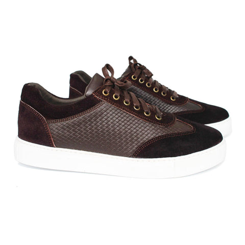 Basket chic en Cuir & Daim Marron