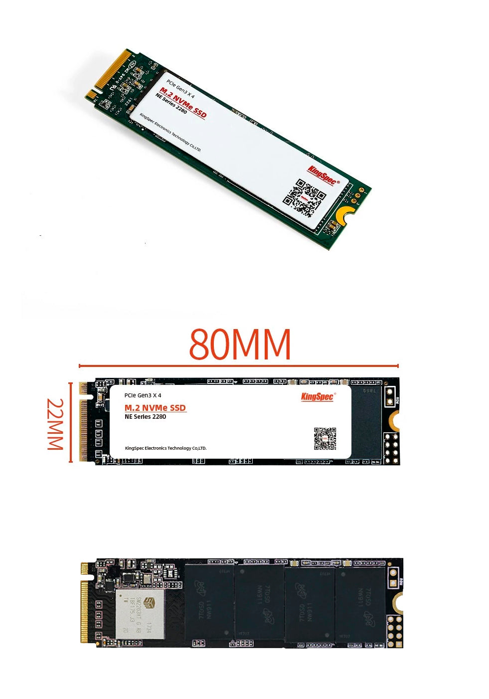 Memória SSD HD Notebook KingSpec NVMe M.2 PCIe 128GB 256GB 512GB 1TB 2TB
