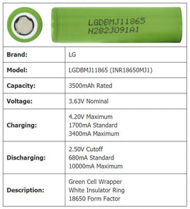 100 Genuine(N) LGDBMJ11865 Cells from Medical Packs 3000mAh to 3400mAh!!