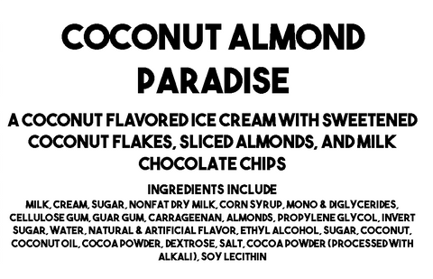 Coconut Almond Paradise Ice Cream Description and Ingredients