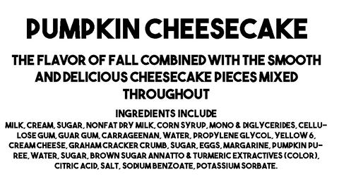 Pumpkin Cheesecake Ice Cream Descriptions and Ingredients