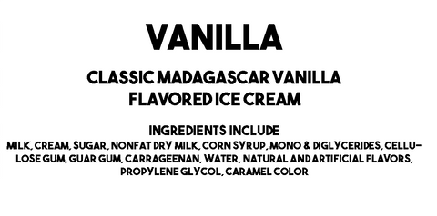Ice Cream Factory's Vanilla Ice Cream Description and Ingredients