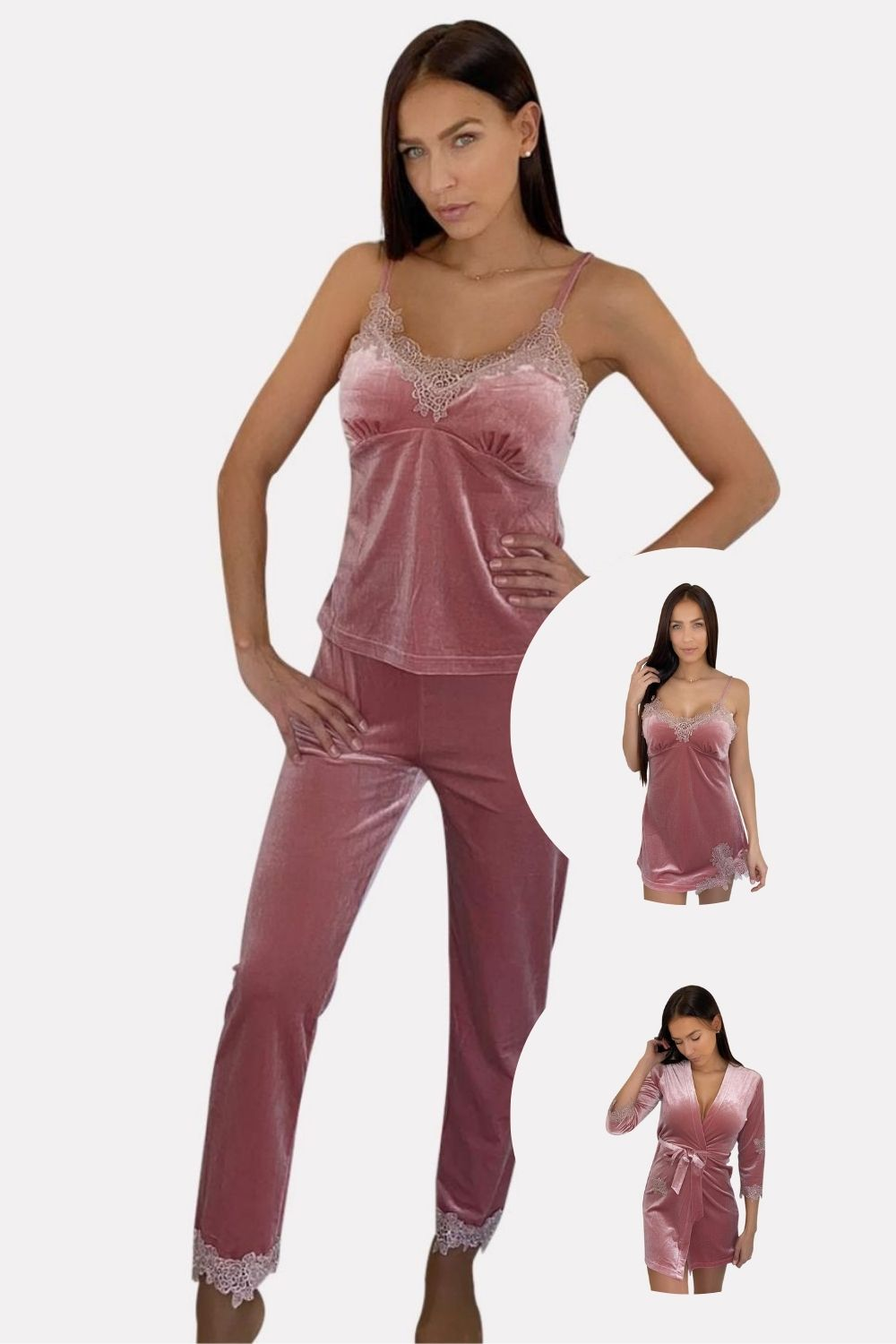 3 Ensembles de Pyjamas en Velours Rose (4 pcs)