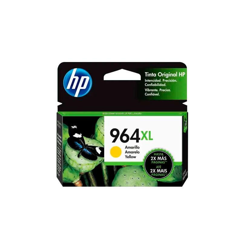HP Tinta # 964 XL, color Amarillo, Alto rendimiento, Compatible con Multifuncional Officejet pro 9010, 9016, 9020, 9018