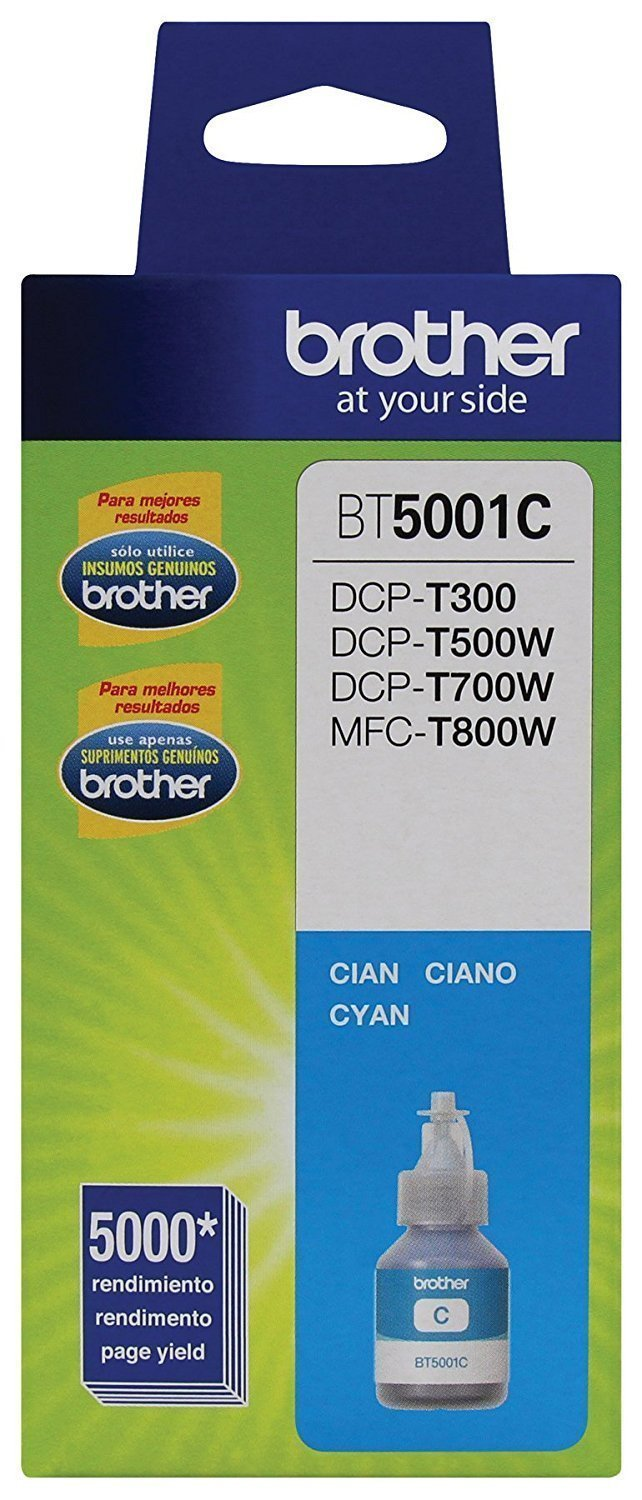 Botella de tinta Brother color cyan BT5001C