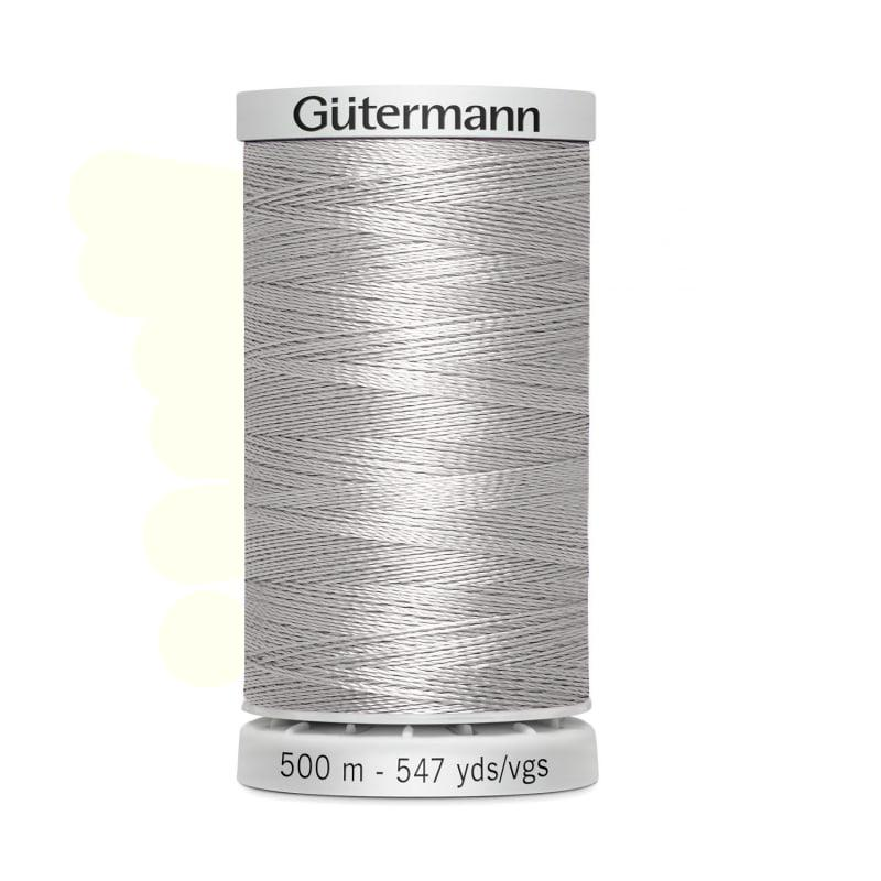 Hilo Gutermann Trilobal, para Bordar a Máquina, Color Gris Claro, de 500 mts. Caja con 5 carretes, mismo color