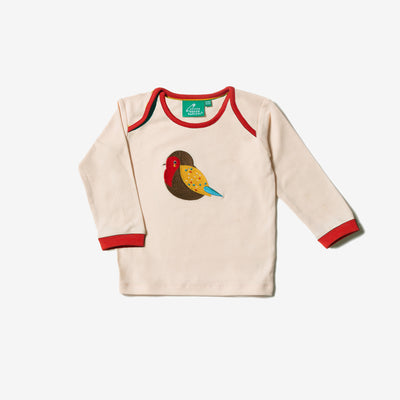 Rainbow Robin Applique Long Sleeve Tee