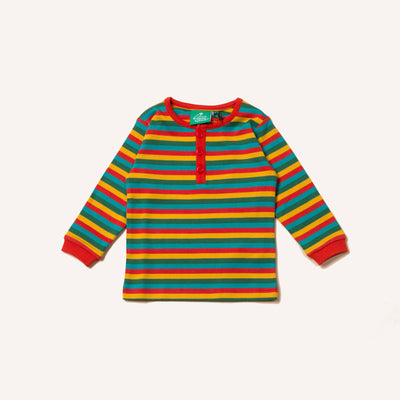 Rainbow Stripe Long Sleeve Button Down Top