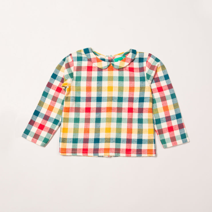 Autumn Rainbow Check Classic Blouse