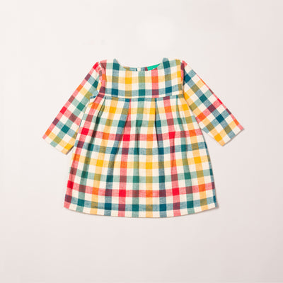 Autumn Rainbow Check Smock Dress
