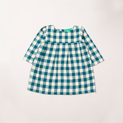 Winter Blue Check Smock Dress