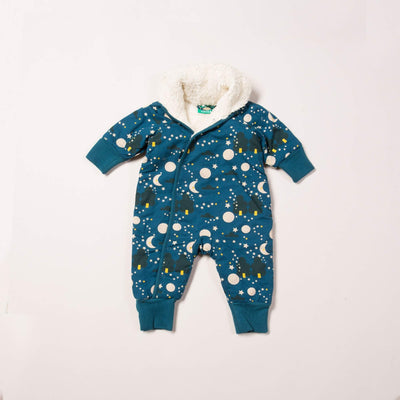 Dark blue baby snowsuiit with sherpa lining, moon and star print