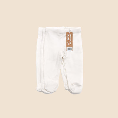 Natural Footed Baby Trousers - Pack of 3