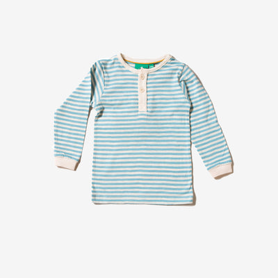 Corn Silk Blue Stripe Long Sleeve Everyday T-Shirt