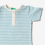Corn Silk Blue Stripe Short Sleeve Everyday T-Shirt