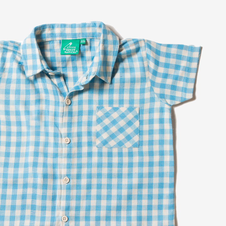 Corn Silk Blue Check Button Down Shirt