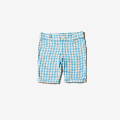 Corn Silk Blue Check Sunshine Shorts