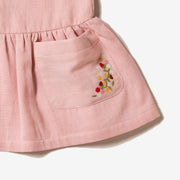 Dusky Pink Embroidered Pocket Dress