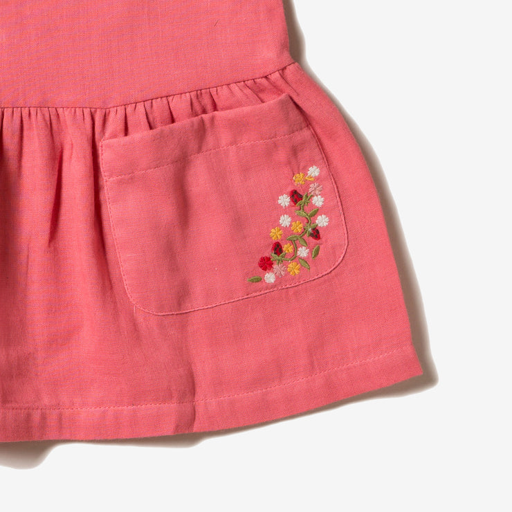 Sunset Pink Embroidered Pocket Dress