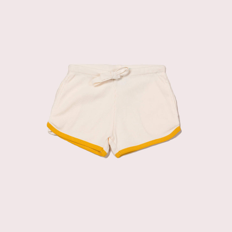 Cream Ribbed Run Around Shorts
