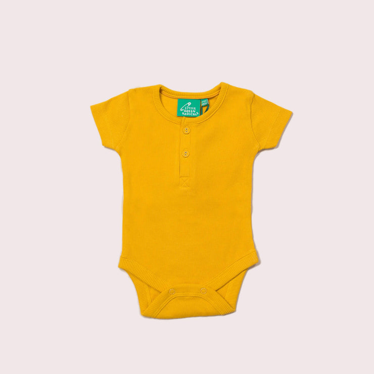 Pale Gold Ribbed Short Sleeve Baby Body