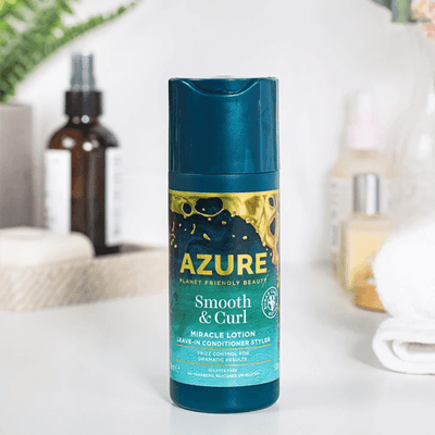 Azure by Planet Friendly Beauty Hair Frizz Control Lotion to Create Curls. Leave in Conditioner to Style Smooth Curly Hair